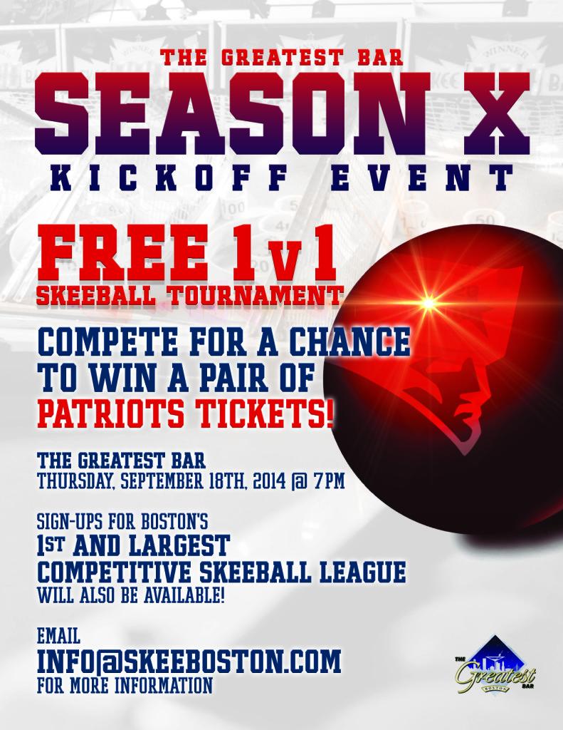 Win Patriots Tickets Thursday - Skeeson 10 Kickoff